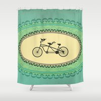 bikes Shower Curtains featuring Love Birds on Bikes by Carrie Ann Schumacher