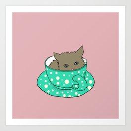 Fluffy Kitten In A Teacup Pink Background Art Print
