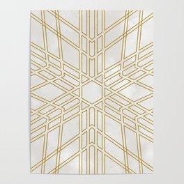 Golden stars on cream marble Poster
