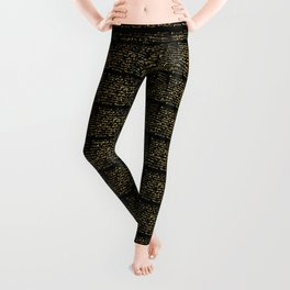 Luxe Gold Black Foil Typography Pattern Seamless Background Leggings