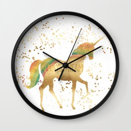 Gold Rainbow Dream Unicorn Wall Clock