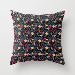 Pretty Pink & Yellow Small Floral Black Design Throw Pillow