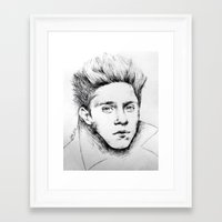 niall Framed Art Prints featuring Niall Drawing by Adele_F