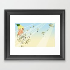 Resting on a dandelion Framed Art Print