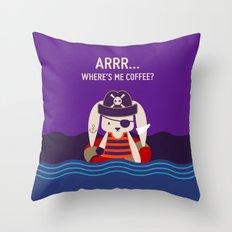 Pirate Bunny Needs Coffee Throw Pillow