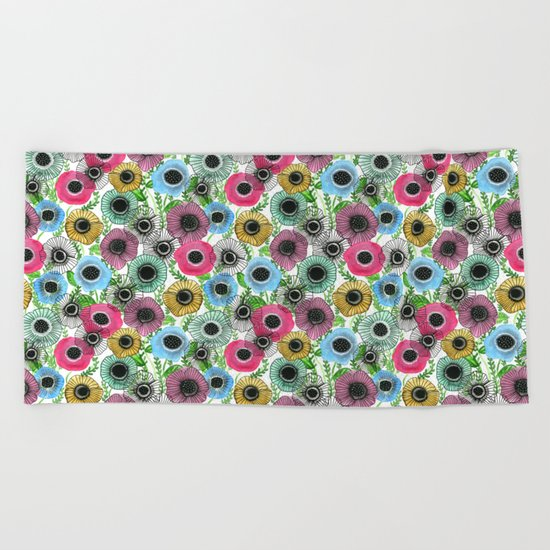 Ink Garden Beach Towel