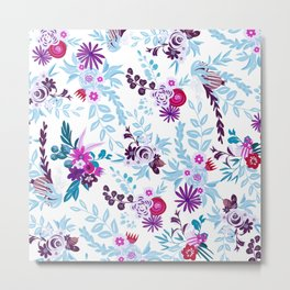 Abstract pastel blue pink country flowers pattern Metal Print