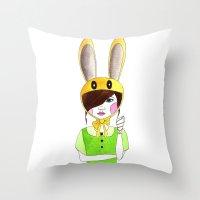 zelda Throw Pillows featuring Zelda by okayleigh