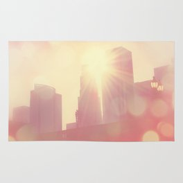 downtown Los Angeles skyline photograph. City of Lights Rug