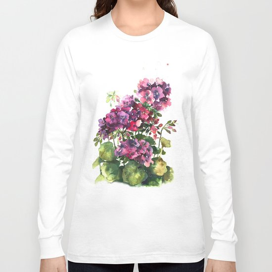 Watercolor geranium red pink flowers Long Sleeve T-shirt