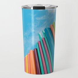 Colorful Rainbow Pipes Against Blue Sky Travel Mug