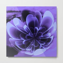 Abstract Blue Flower Metal Print