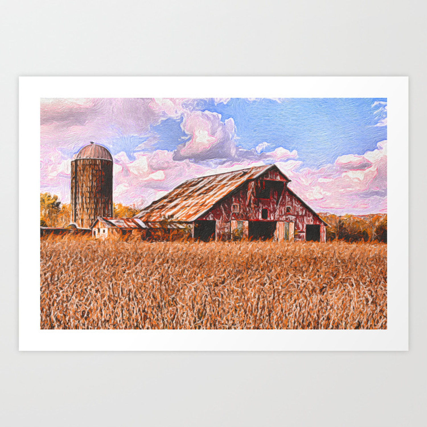 Rustic Barn On The Farm Acrylic Painting Art Print