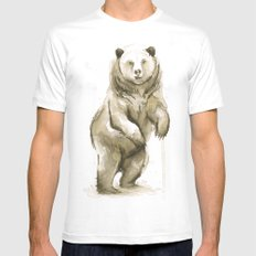 Bear Watercolor Animal Mens Fitted Tee White MEDIUM