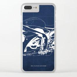 Motorcycle blueprint, 2012 Suzuki GSX-R1000, gift for men, valentine, plano de motocicleta Clear iPhone Case
