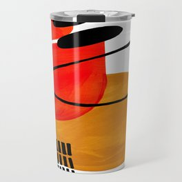 Mid Century Modern Abstract Vintage Pop Art Space Age Pattern Orange Yellow Black Orbit Accent Travel Mug