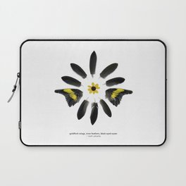 feather mandala... goldfinch wings, crow feathers, black eyed susan Laptop Sleeve
