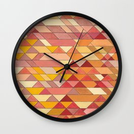 Triangle Pattern no.4 Warm Colors Red and Yellow Wall Clock