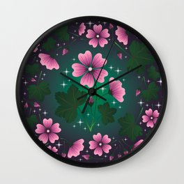 Mallow Flower Pattern Wall Clock