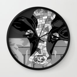 Gray Patchwork Cow Wall Clock