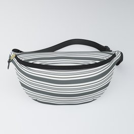 PPG Night Watch Pewter Green & White Thick and Thin Horizontal Lines Bold Stripe Pattern Fanny Pack