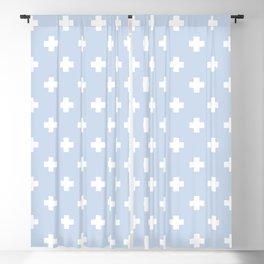 White Swiss Cross Pattern on Pale Blue background Blackout Curtain