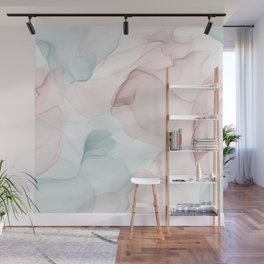 Blush and Blue Flowing Abstract Painting Wall Mural