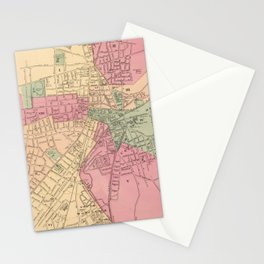 Vintage Map of Worcester MA (1871) Stationery Cards
