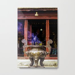 Gold Urn with Incense Sticks Burning by a Red Altar at the Ngoc Son Temple in Hanoi, Vietnam Metal Print