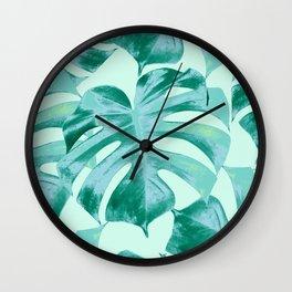 Tropical Monstera Leaves Dream #4 #tropical #decor #art #society6 Wall Clock