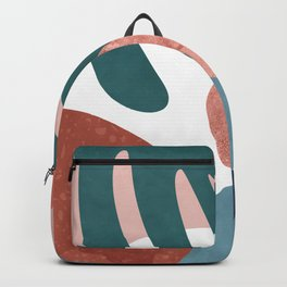 Tropical terrazzo ocher turquoise blue Backpack