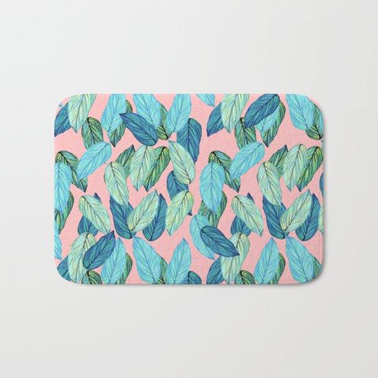 Tropical leaves on Pink Bath Mat