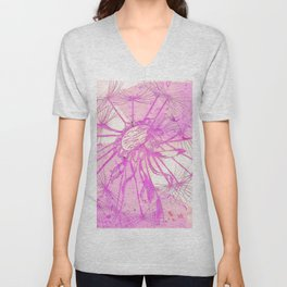 Pink & Purple Dandelion Unisex V-Neck