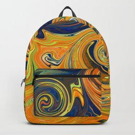 Yellow and Blue Swirls Backpack