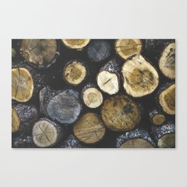 Stacked wood Canvas Print