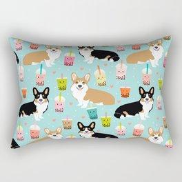 Corgi boba tea bubble tea kawaii food welsh corgis dog breed gifts Rectangular Pillow