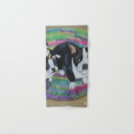 Boston Terrier and Puppies Hand & Bath Towel