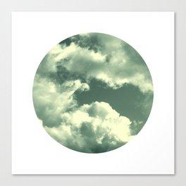 Cloudy sky photograph, dreamy white green, spring decor Canvas Print
