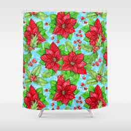 Poinsettia and holly berry Christmas pattern Shower Curtain