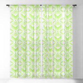 Green diamonds from white stars on lime hearts in a bright intersection. Sheer Curtain