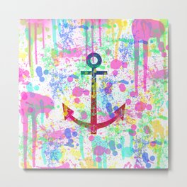 Modern abstract colorful watercolor nautical anchor splatters Metal Print