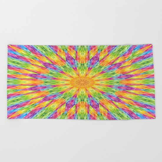 Rainbow Crystal Mandala Beach Towel
