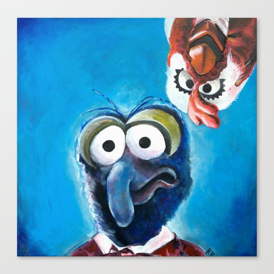 """Gonzo and Camilla Muppet Painting """"Still a Better Love Story"""" Canvas Print"""