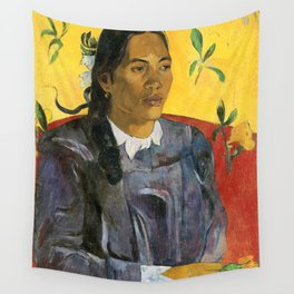 Tahitian Woman with a Flower by Paul Gauguin Wall Tapestry