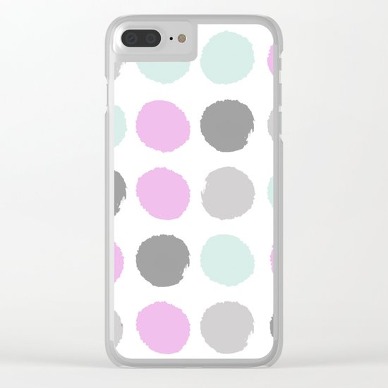 Modern pastel dots polka dots pattern basic decor for home office trendy space Clear iPhone Case