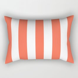Tomato red - solid color - white vertical lines pattern Rectangular Pillow