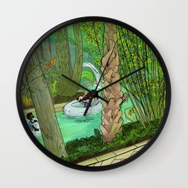 Floating down the river Wall Clock