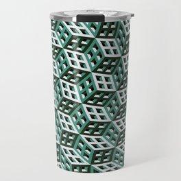Abstract twisted cubes Travel Mug