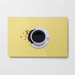 Black Cup of Coffee with Coffee Beans on Yellow Metal Print