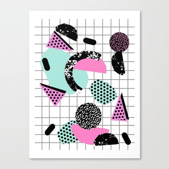 Joshin - memphis throwback retro pop art geoemetric pattern print unique trendy gifts dorm college Canvas Print